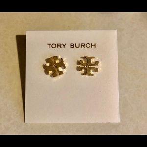 TORY BURCH GOLD LOGO DESIGNER STUD EARRINGS